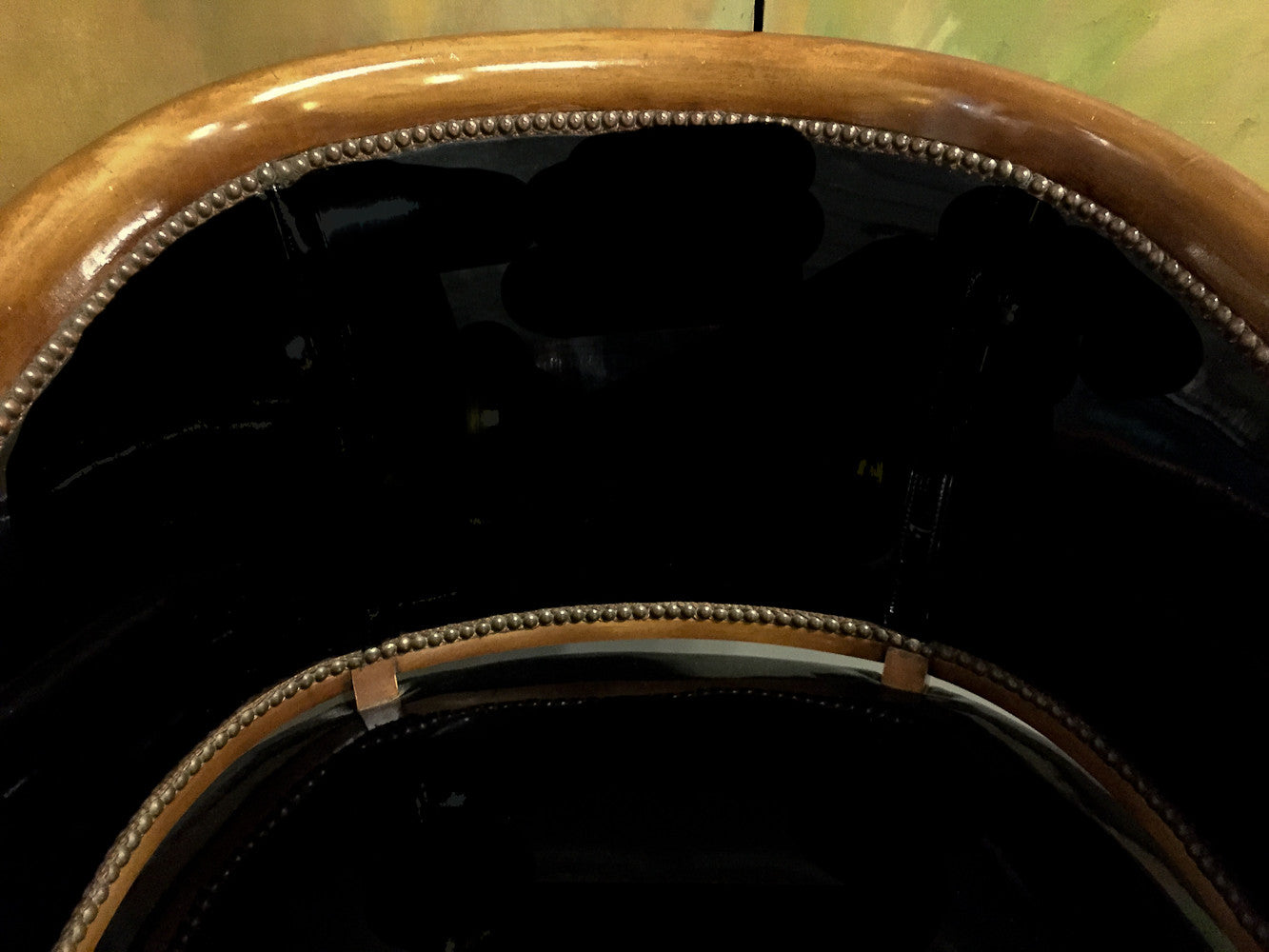 Mid Century Black Patent Leather Chair with Nail Heads