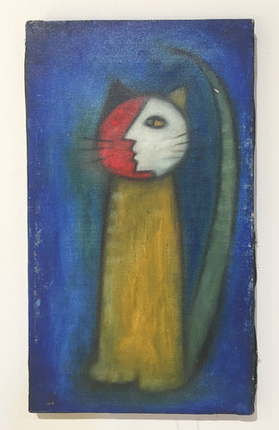 Mid Century Abstract Blue Cat - Oil on Canvas
