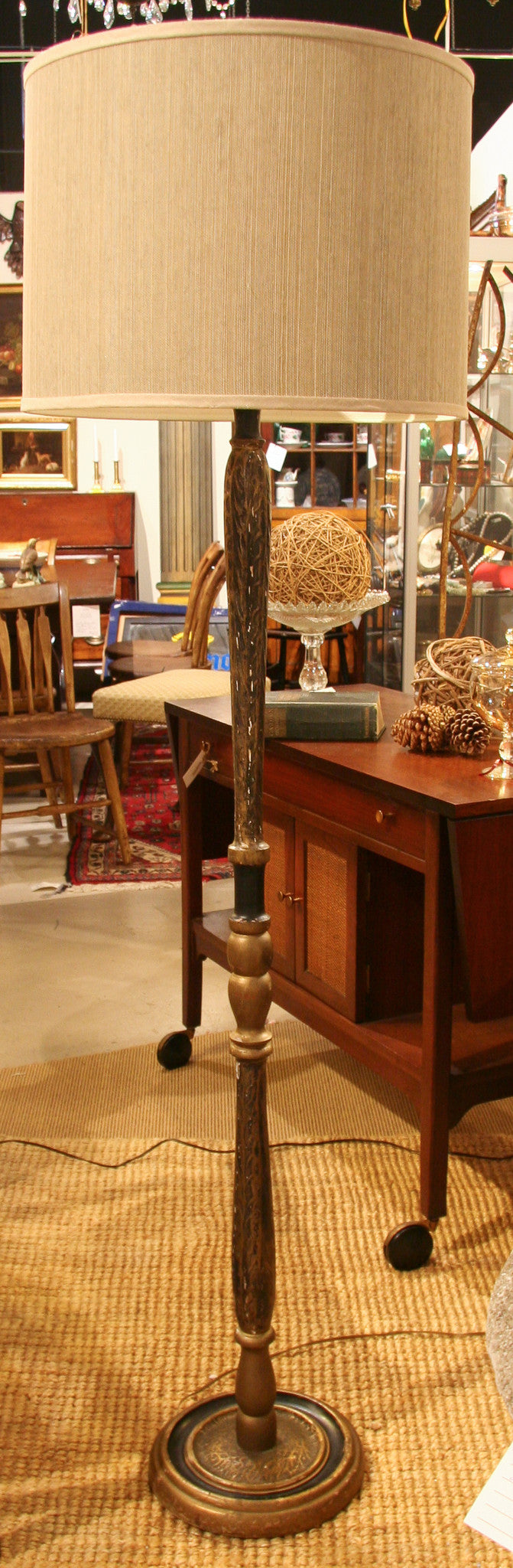 1940's Carved Wood Floor Lamp