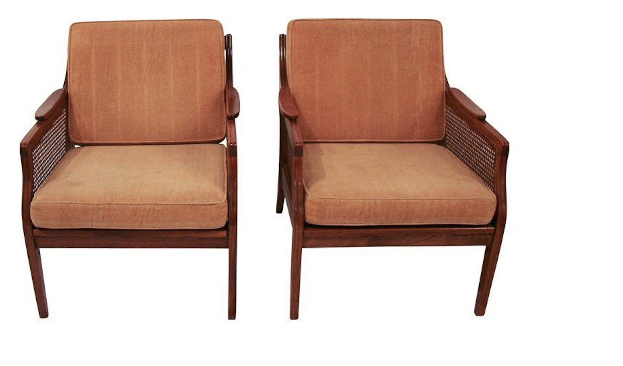 Pair, Mid Century Caned Chairs