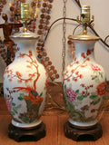 Pair, Antique Asian Porcelain Lamps
