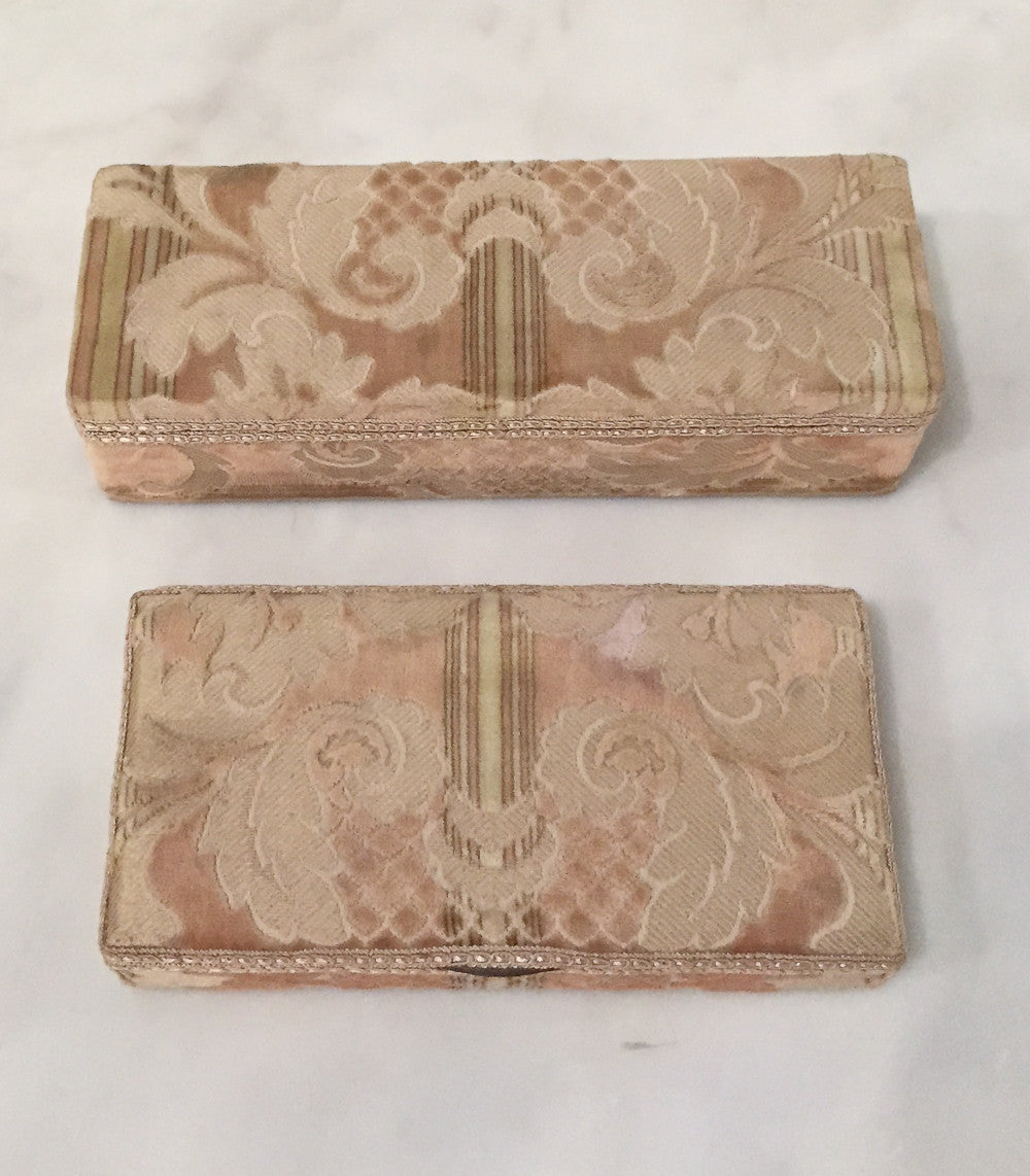 Pair, Antique Velvet Jewel Boxes