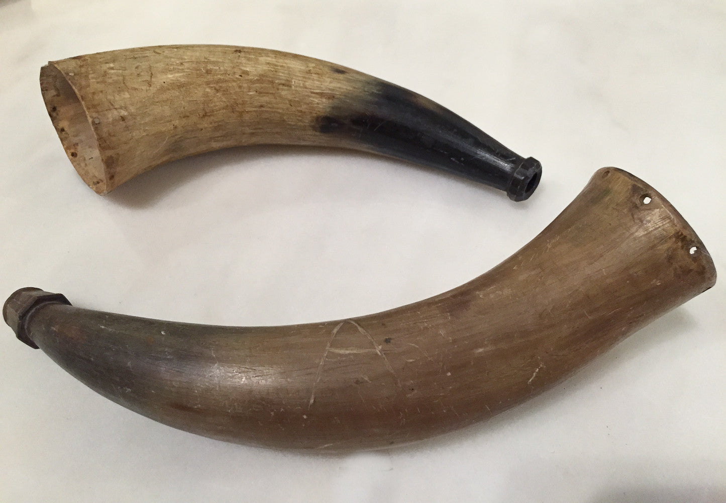 Pair, Antique Pre Civial War era Bull Horn Musket Powder Holder