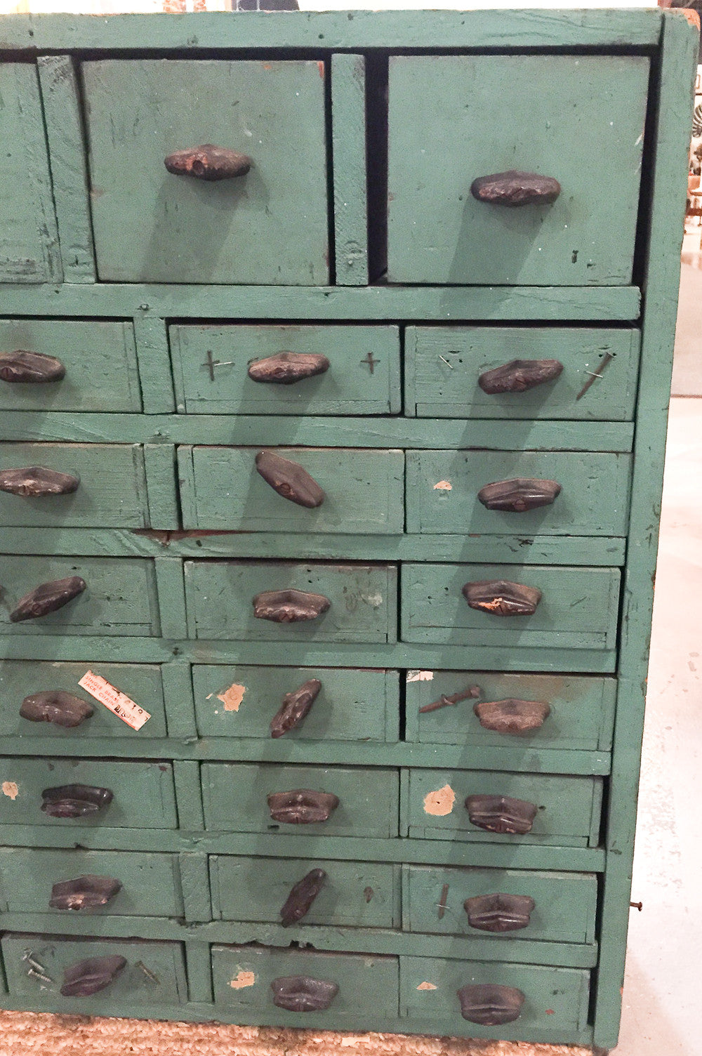 Primitive Antique Hardware Store Cabinet, Storage