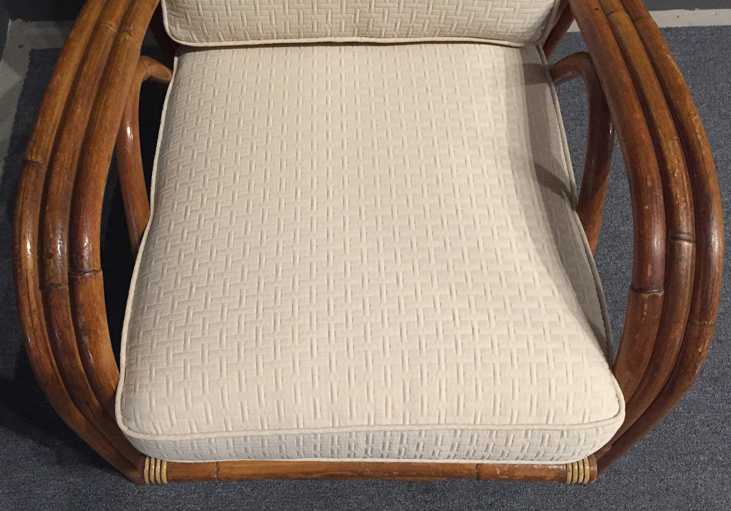 Mid Century Rattan Chair - Ivory Graphic Upholstery