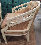 Pair, Mid Century Ivory Chairs - Graphic Upholstery
