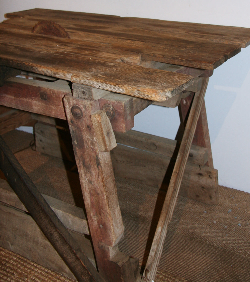 Antique Circular Saw Horse Side Table - Server
