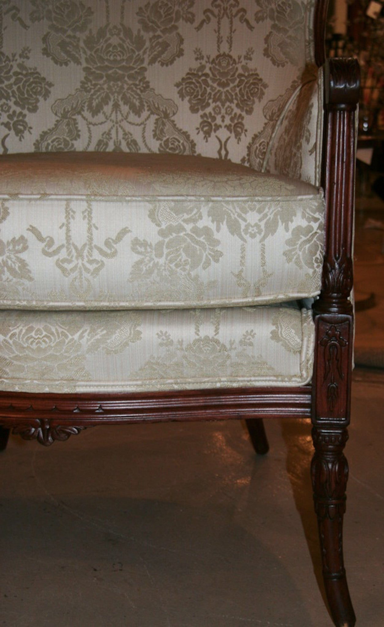 Antique Wing Back Chair - Vintage Damask Upholstery