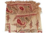Large Antique Paisley Throw with Fringe