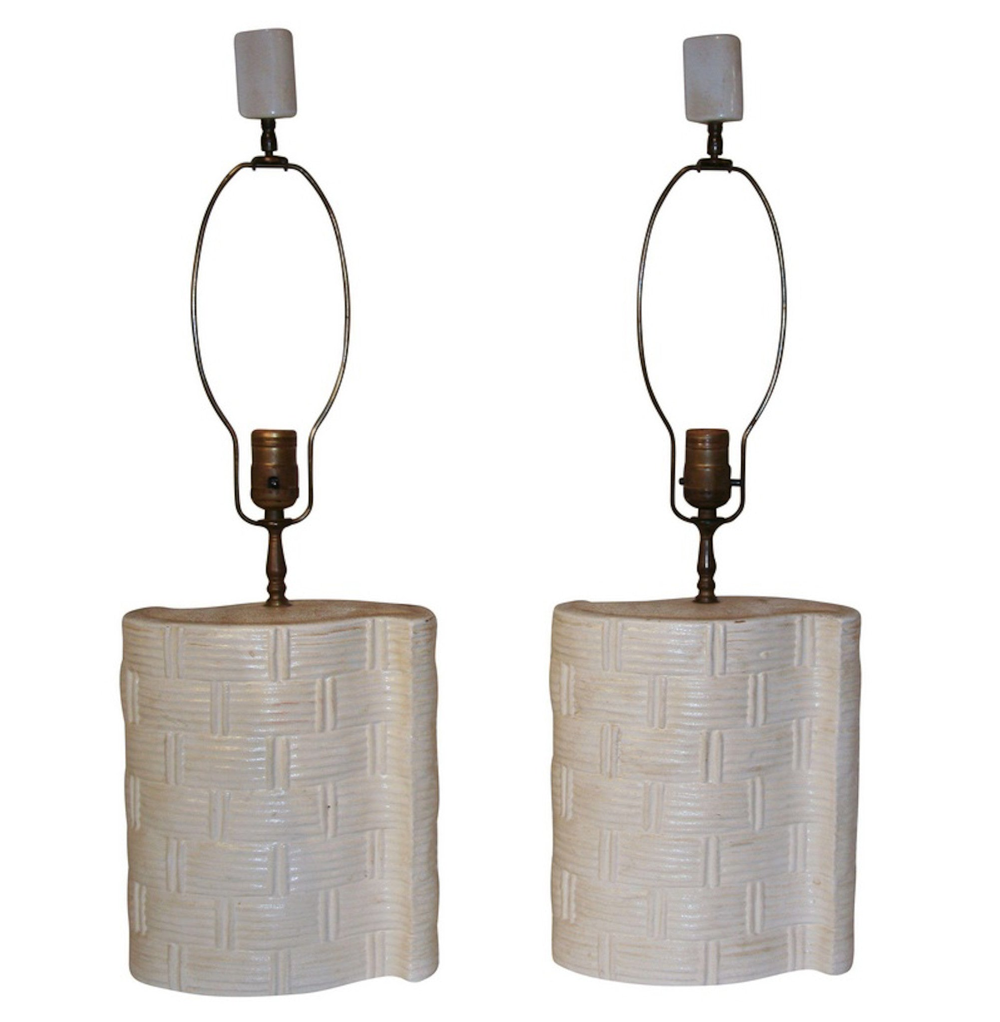 Mid Century Basket Weave Pottery Lamps - Studio lane at Reposed NY Vintage Home Decor