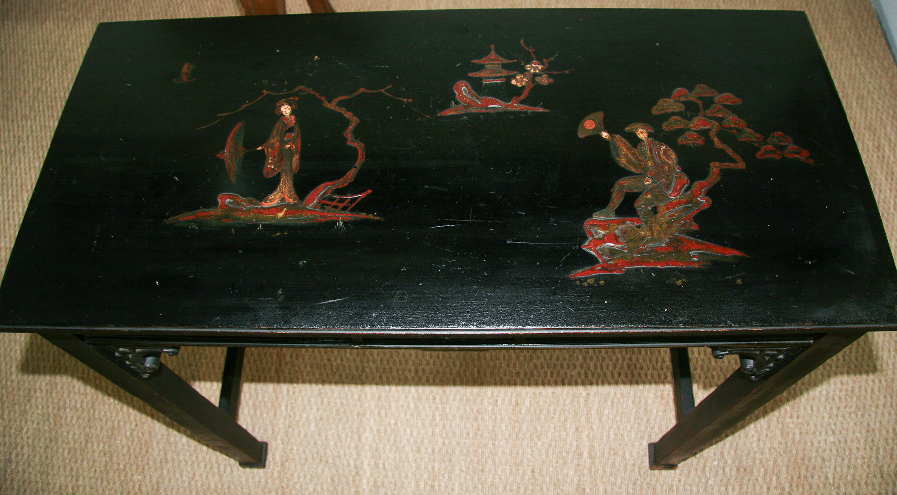 Early Black Wood Chinoiserie Top Console Table