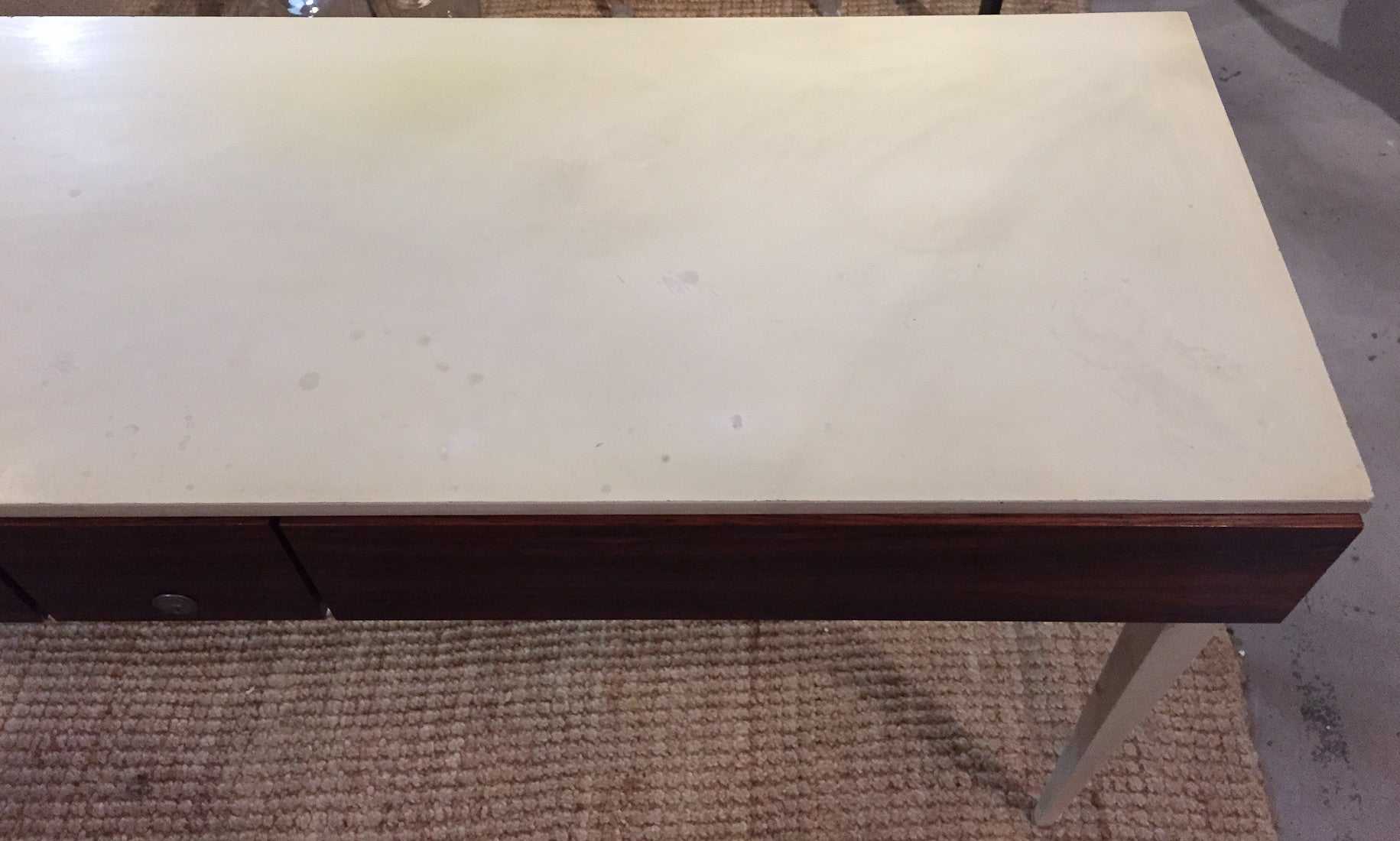 Mid Century Ivory and Rosewood Console Table, Desk