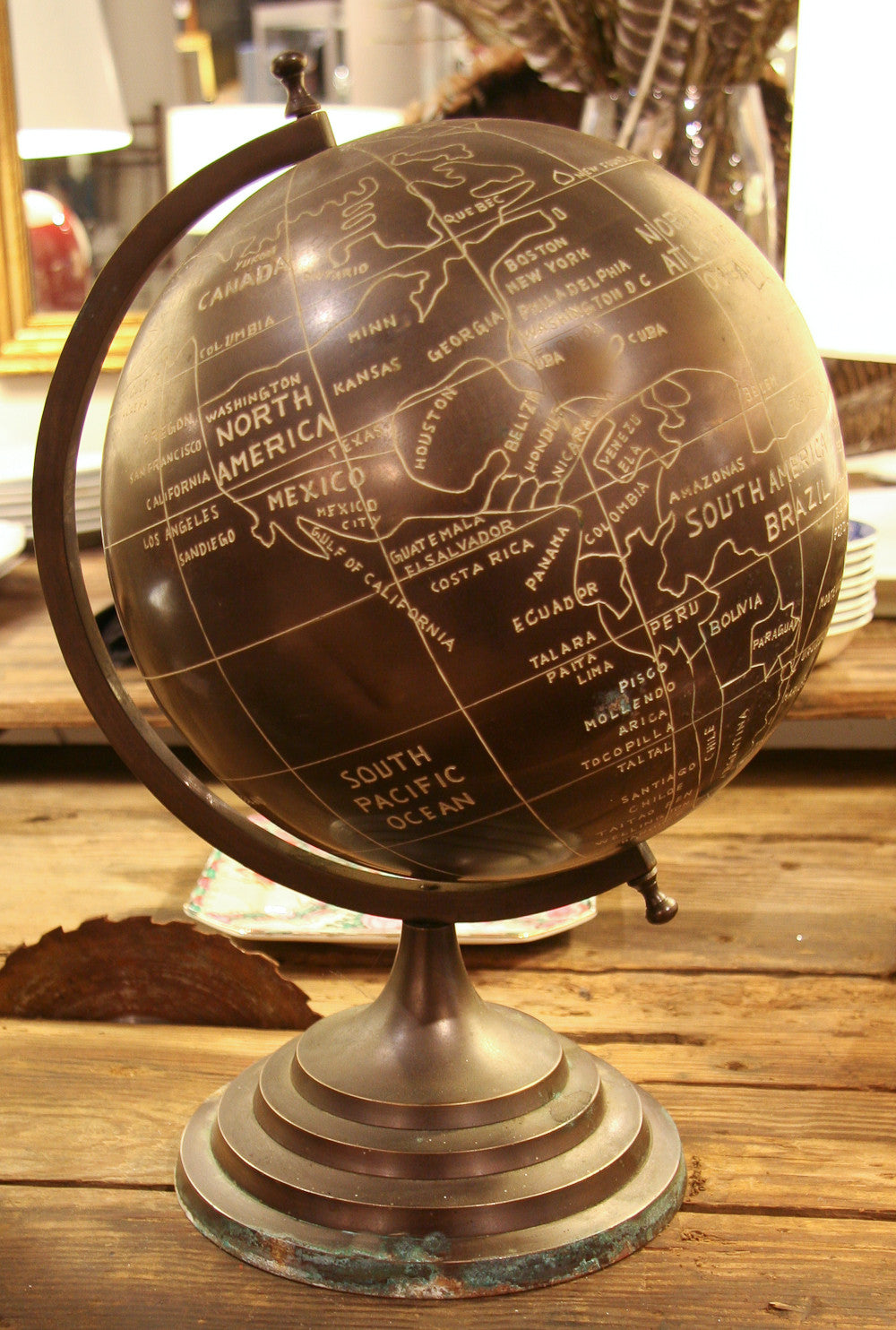 Early Vintage Brass, Bronze Finish Globe of the World