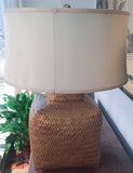 Mid Century Gold Leaf Sirmos Tea Caddy Lamp, Silk Shade