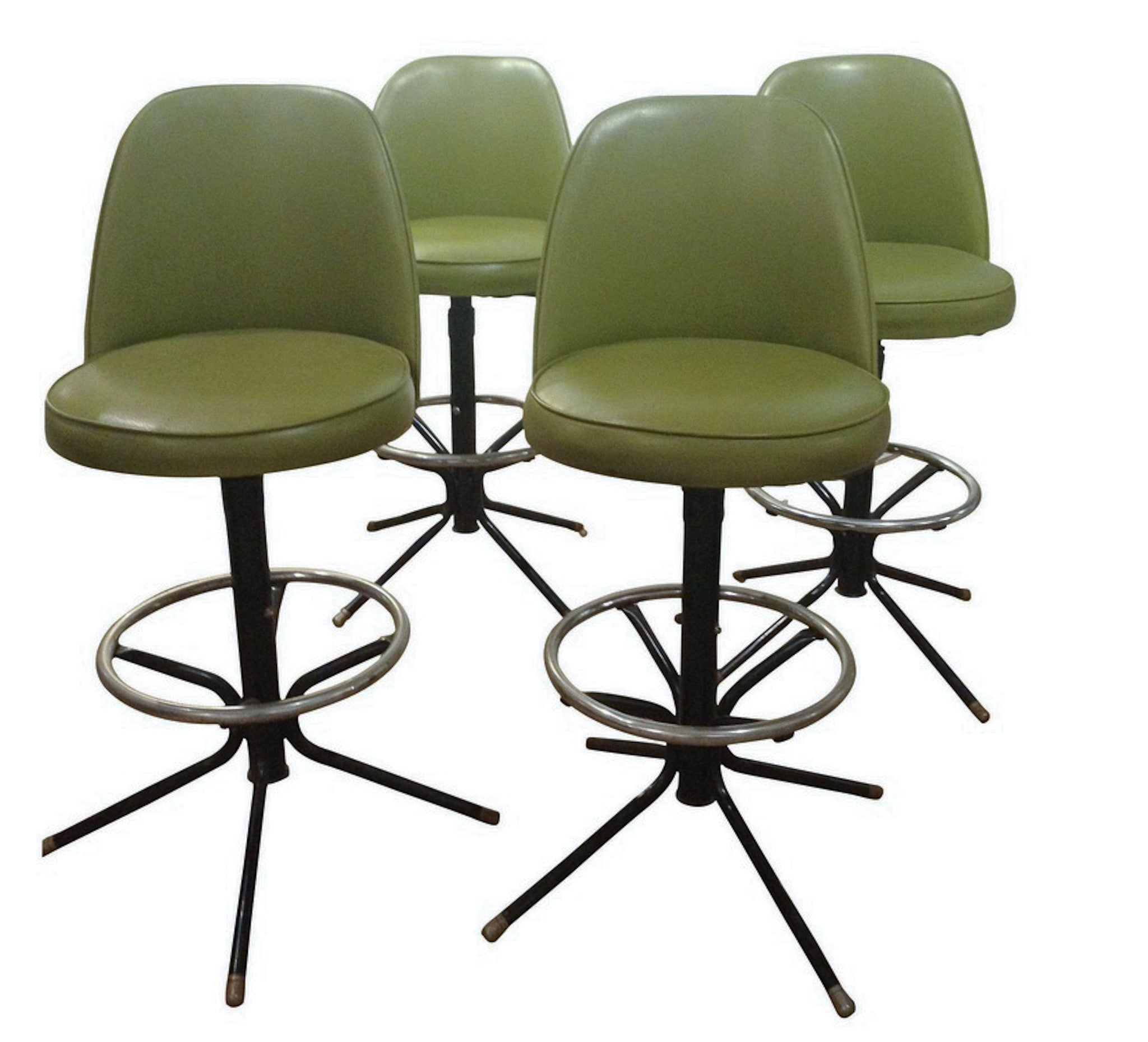 Mid Century Set of 4 Green Counter Stools