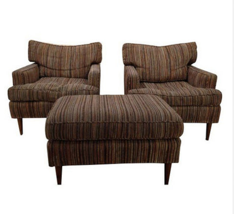 Pair Mid Century Chairs and Ottoman - 3 Pieces
