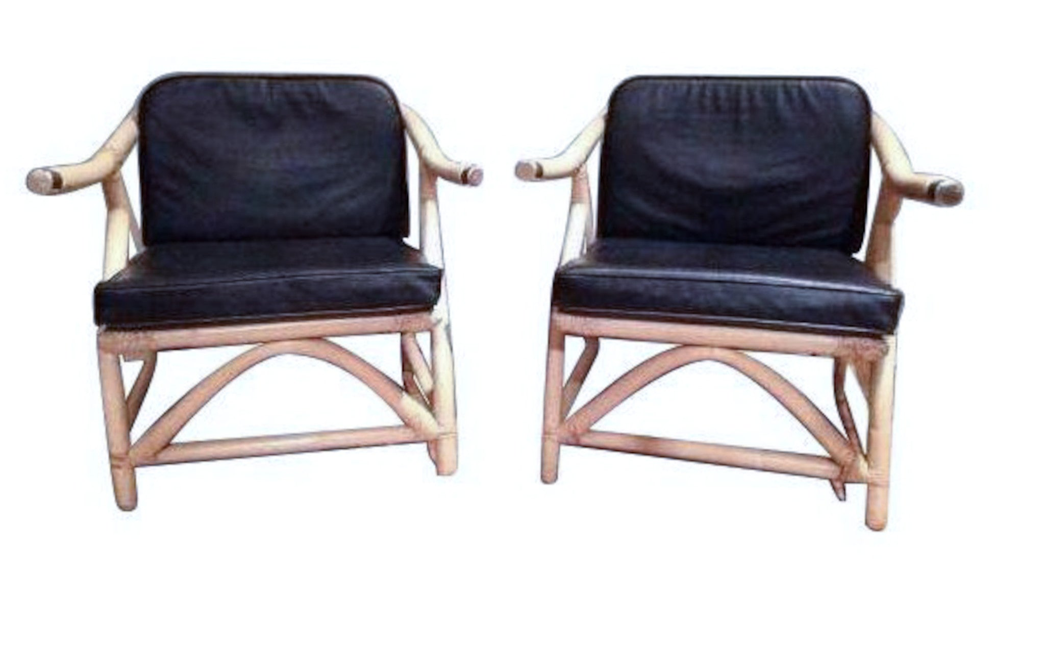 Mid Century Ivory Rattan Chairs, black leather cushions