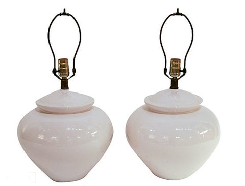 Pair, Mid Century White Asian Urn Lamps