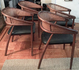 Set/4 Edward Wormley Style Caned Dining Chairs