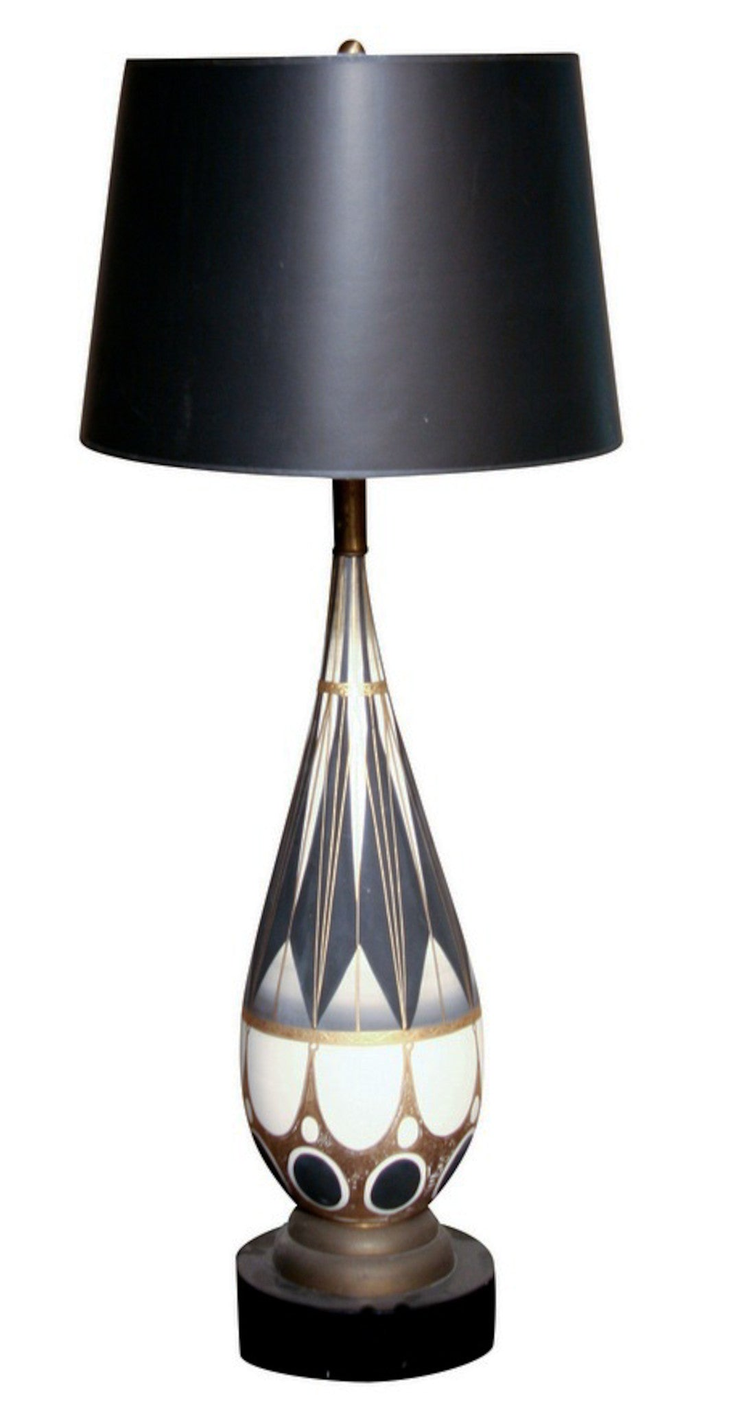 Mid Century Large, White, Grey, Black and Gold Lamp