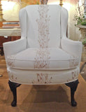 Vintage Wing Back Chair in White Linen - Studio Lane at Reposed NY Vintage Decor