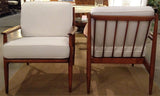 Pair, mid century Baumritter Chairs in Linen