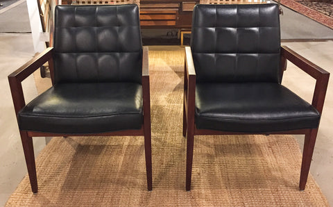 Pair, Mid Century Mad Men Style Black Leather Chairs