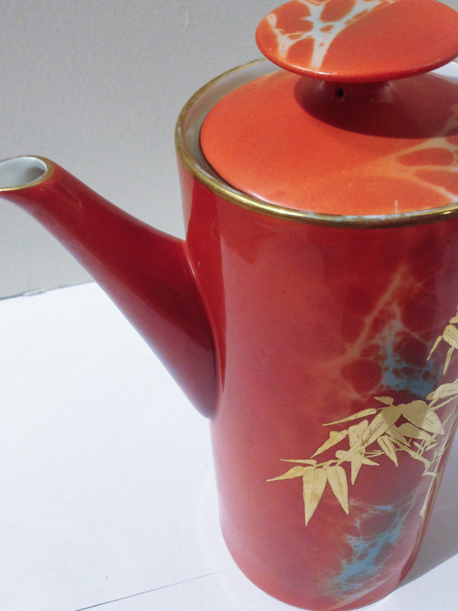 Vintage Asian Orange/Gold Teapot & Plate - Studio Lane at Reposed NY Vintage Home Decor