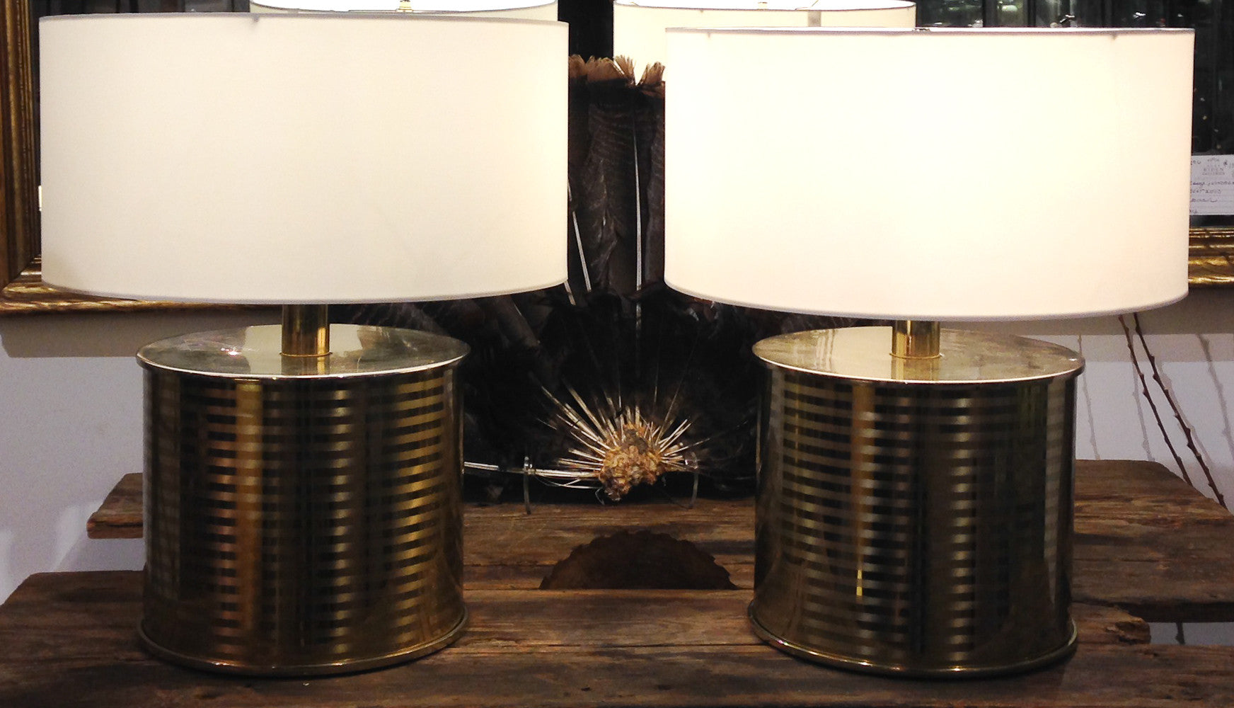 Pair, Mid Century Brass Cylinder Laurel Lamps