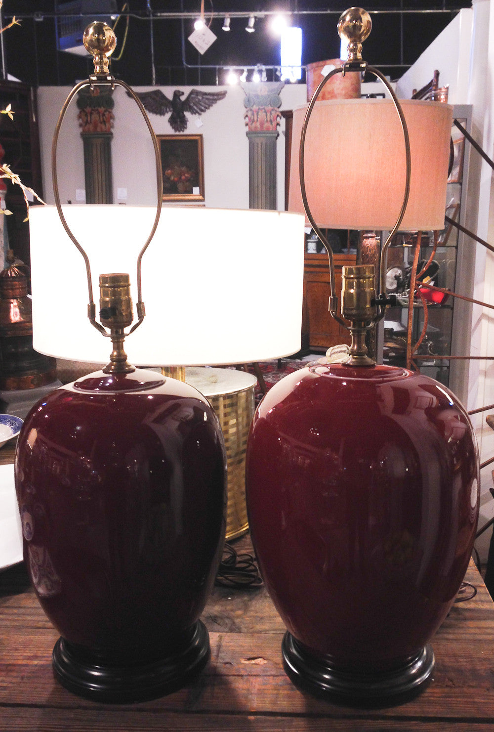 Pair, Early Mid Century Asian Ox Blood Red Porcelain Lamps