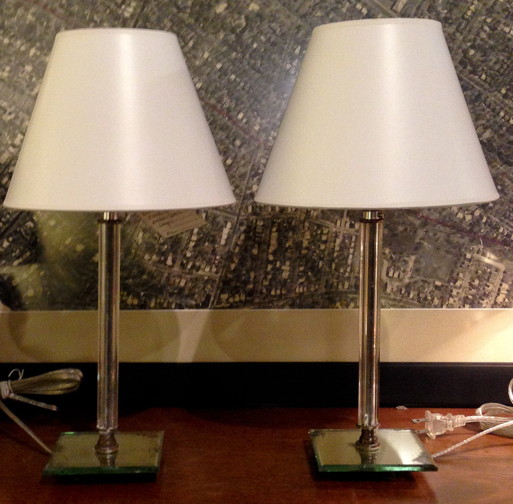 Pair, 1930's vintage Glass and Mirrored Lamps