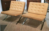 Pair, Mid Century Barcelona Style Leather Chairs