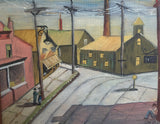 Mid Century Oil - Men in a Town