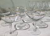 Set of 24 Mid Century Gold Rim Stemware