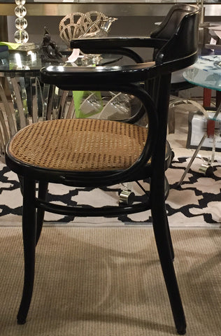 Beau S/4 Vintage Bentwood Chairs   Black Patent Leather Seat Cushions
