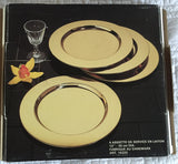 S/4 Mid Century Danish Brass Chargers Set 1 of 2