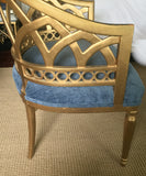 Mid Century Gold Barrel Back Club Chairs