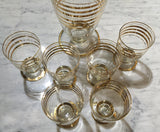 Mid Century Gold Leaf Decanter, 6 Glasses