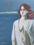 Mid Century Listed Artist Doris Klein Oil on Canvas - Woman at the Sea