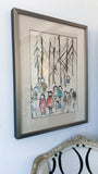Mid Century Water Color Painting, Family