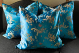 Set of 3 Asian Silk Pillows - in Turquoise