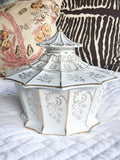 Mid Century Porcelain Asian Pagoda Covered Dish, Trinket Box