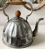 Antique Metal Tea Kettle With Wood Knob