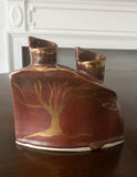 Mid Century Studio Pottery Candle Holder With Gold Tree, Signed