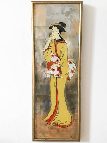 Mid Century Geisha Asian Mirror