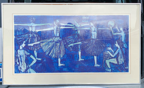 Mid Century Signed, Dated, Print - Seven Dancers