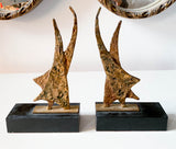 Mid Century Brass and Marble Sculptures, Bookends