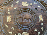 Antique Carved, Inlaid Table - Elephants