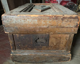 Antique Wood Painted Trunk - Chest