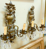 Pair, Antique French Brass Wall Sconces